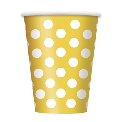 6 Copos amarelo bolas
