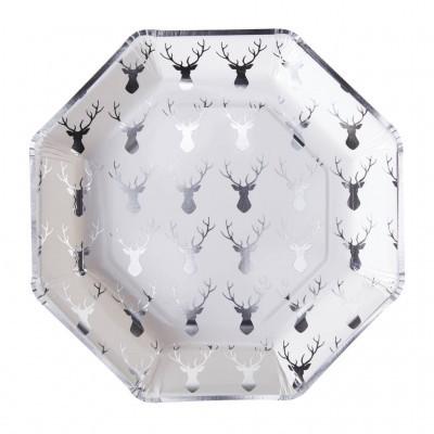 8 Pratos Festive prata foil
