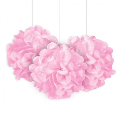 3 Pompons rosa bebé