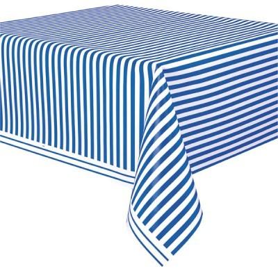 Toalha de mesa azul cobalto riscas