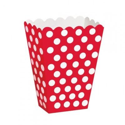 Caixas de pipocas vermelho bolas