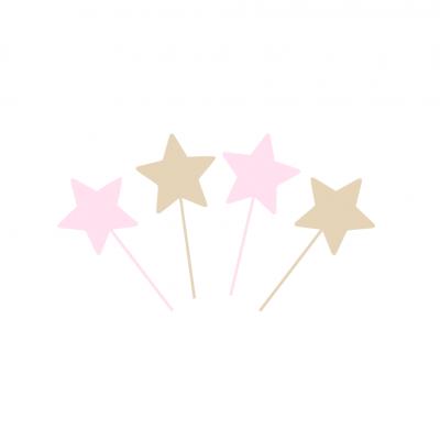 10 Topos Cupcake estrelas rosa e ouro