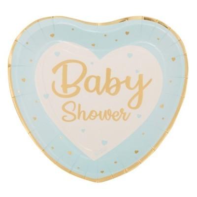 8 Pratos coração baby shower azul