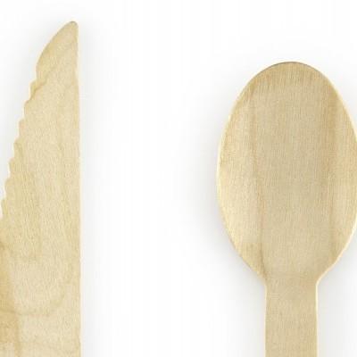 Talheres de madeira - azul claro x18