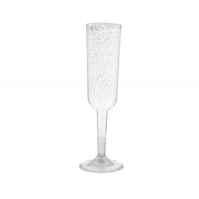 4 Copos champagne Prata glitter
