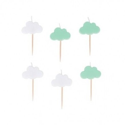 6 Velas nuvens menta