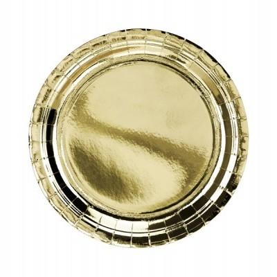 6 Pratos redondos ouro - 23cm
