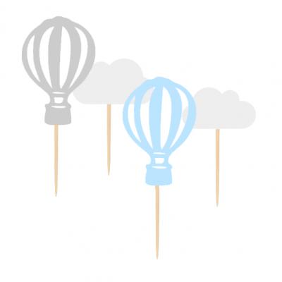 12 Cupcake toppers Balões ar quente