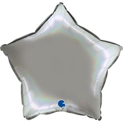 Balão estrela acetinado Prata