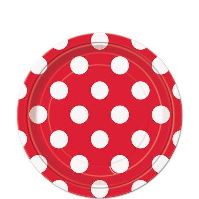 8 Pratos vermelho bolas 23cm