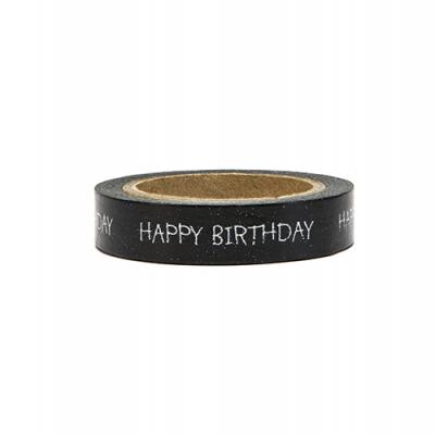 Washi tape happy birthday preto
