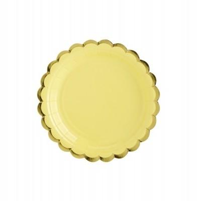 6 Pratos - amarelo e dourado 18cm