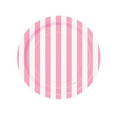 8 Pratos riscas rosa bebé 17cm