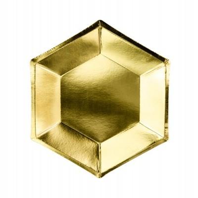 6 Pratos hexágono ouro