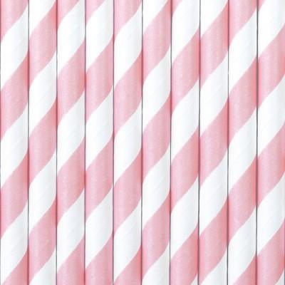 10 Palhinhas rosa claro riscas