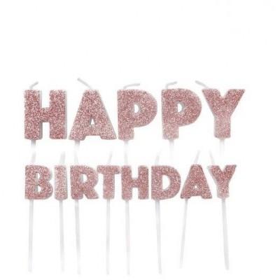 Velas Happy Birthday Rosegold Glitter