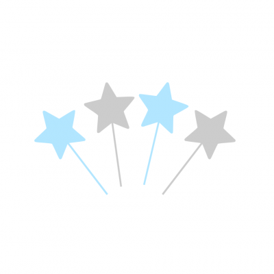 10 Topos Cupcake estrelas azul e prata
