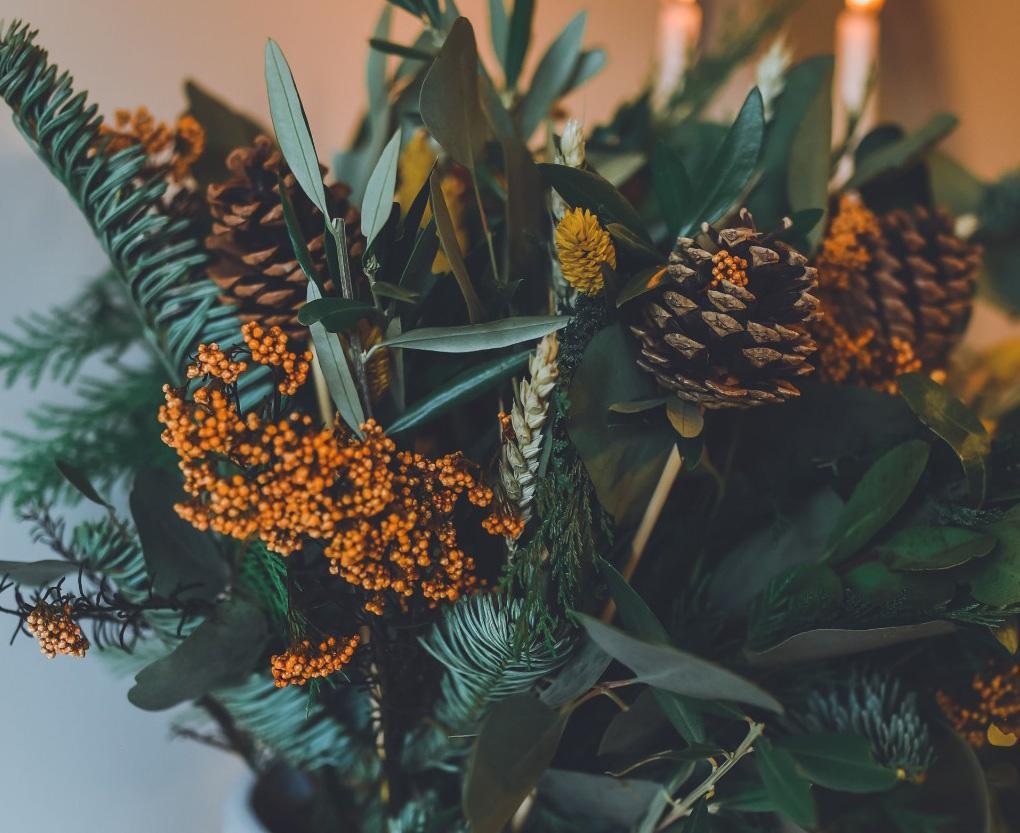 Vaso Cinza com Flores