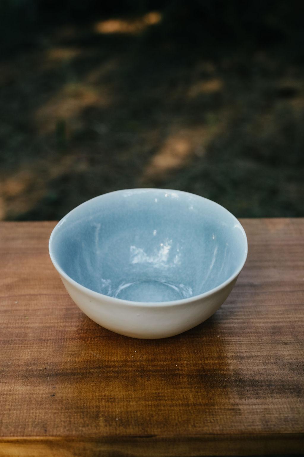 Prato Sopa Azul e Branco