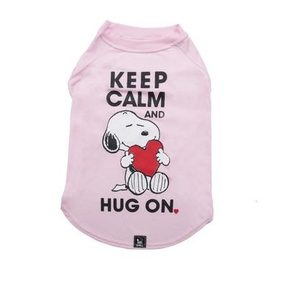 T-shirt Keep Calm Hug On Pink Oficial Snoopy
