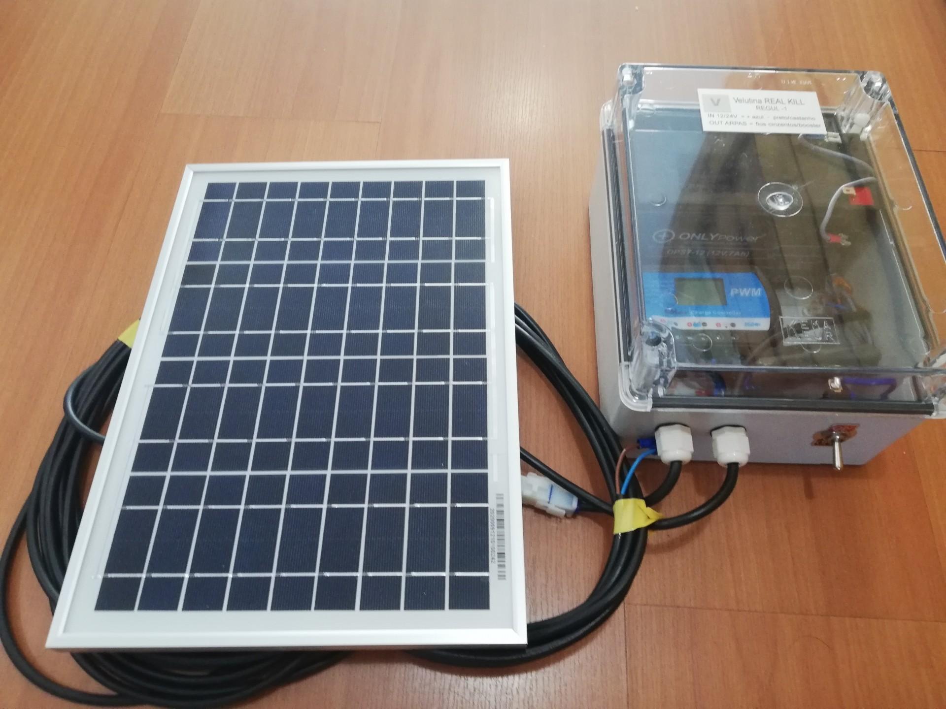 Kit regul 1 - Caixa Transparente com interrutor, electrónica 12/24 regulador de carga, bateria e Painel solar 12vdc