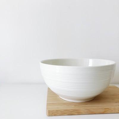 Saladeira Listada Horizontal Branca