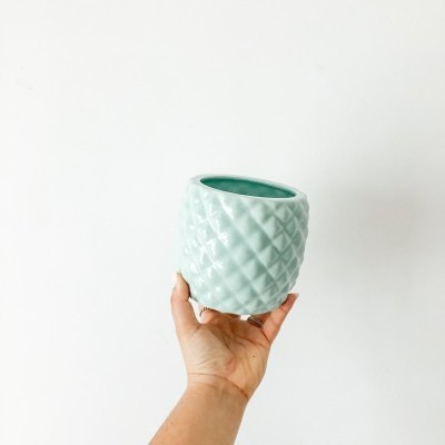 Pote Ananás Verde Água - Feito à Mão