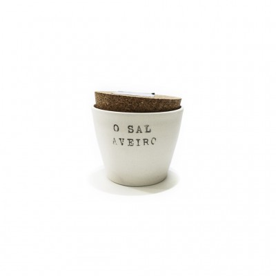 Artesanato - Saleiro porcelana com 150g de Sal Marinho