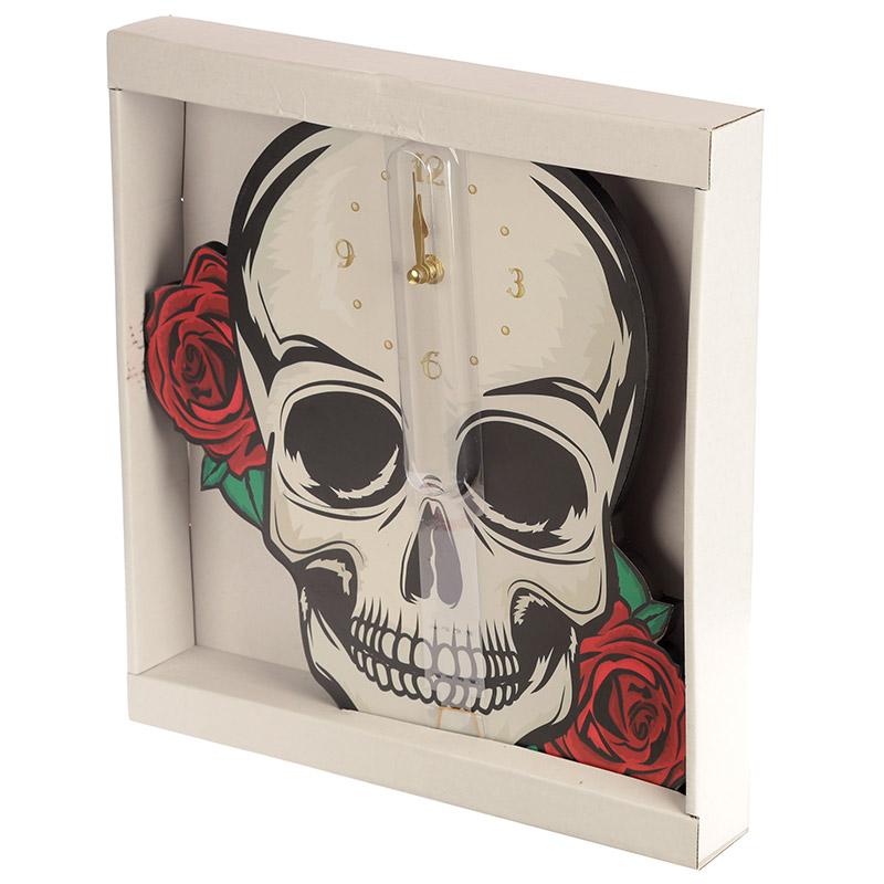 Relógio Caveira com rosas