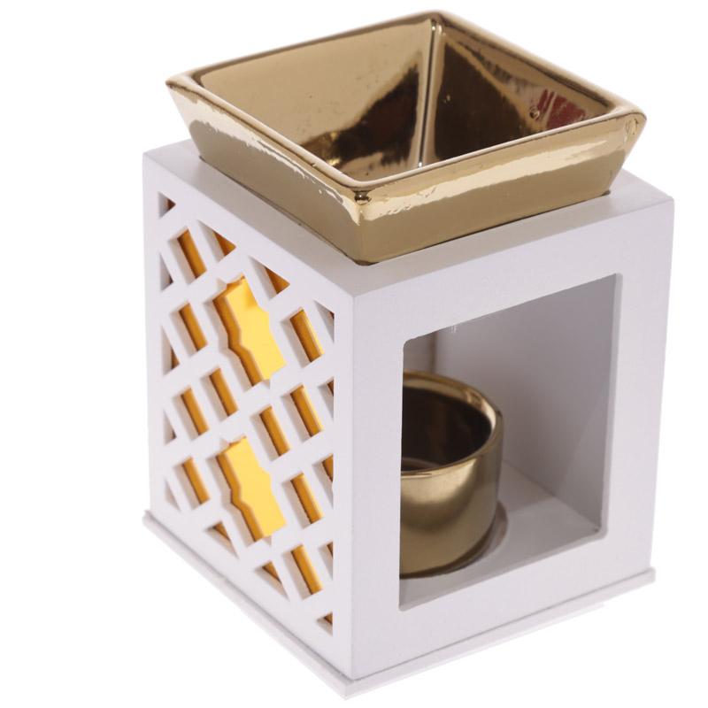 Queimador de madeira ouro/prata