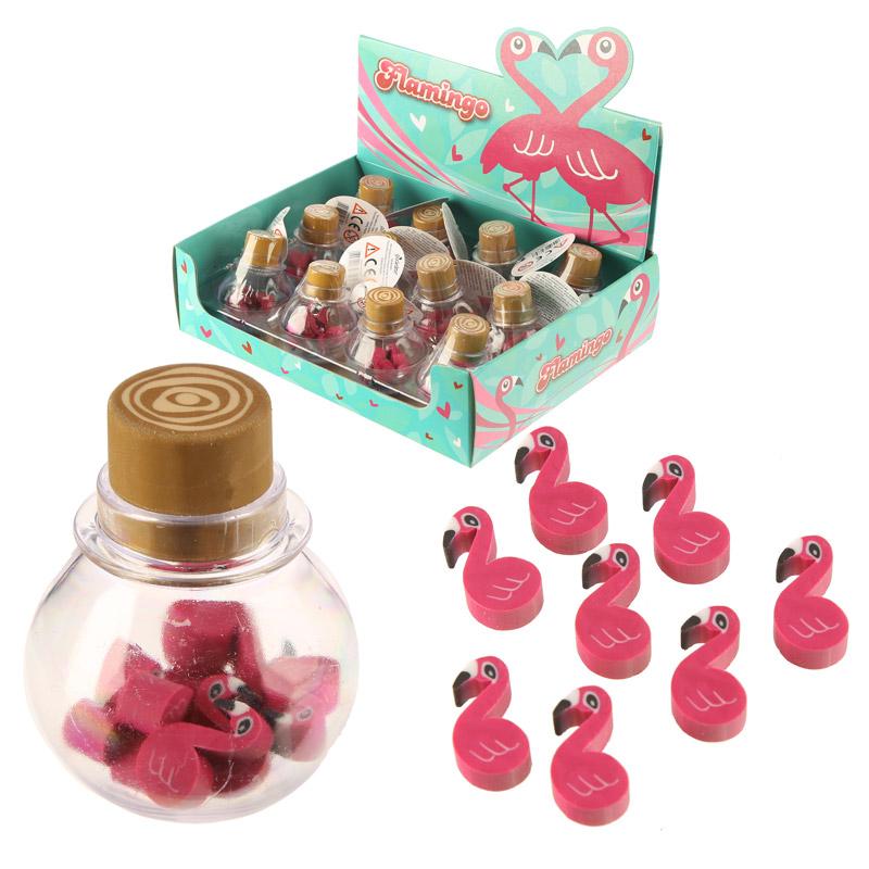 Caixa de borrachas Flamingo rosa