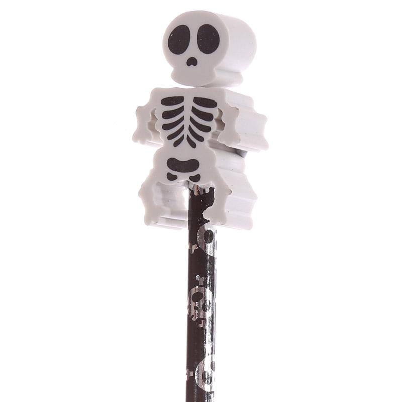 lápis e borracha Esqueleto divertido