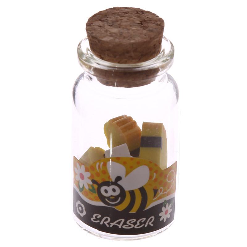 frasco com Mini borrachas Mel e Abelha