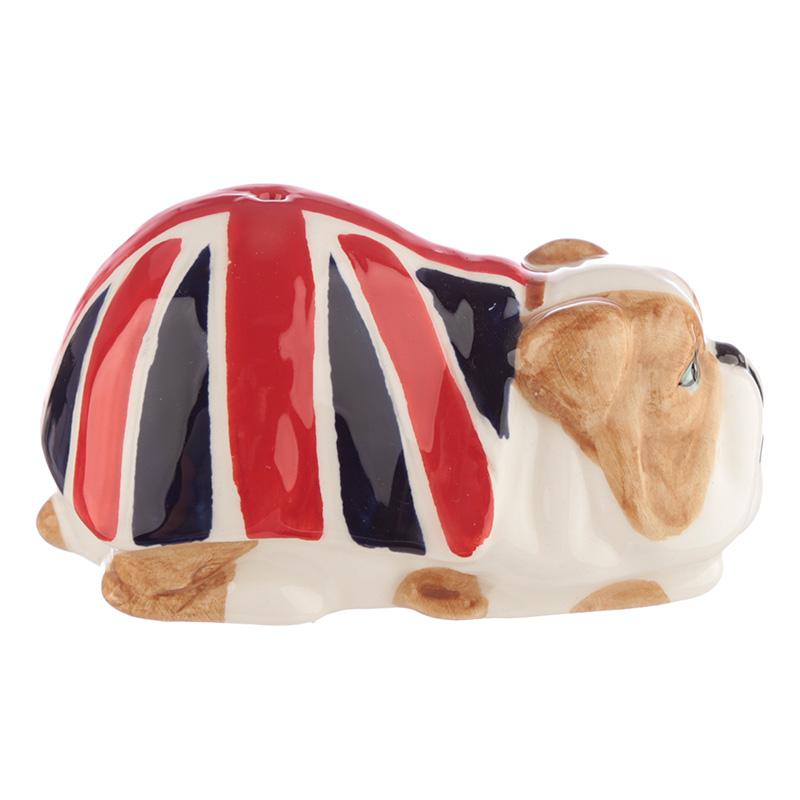 Saleiro e Pimenteiro Cão Bulldog Bandeira Inglaterra