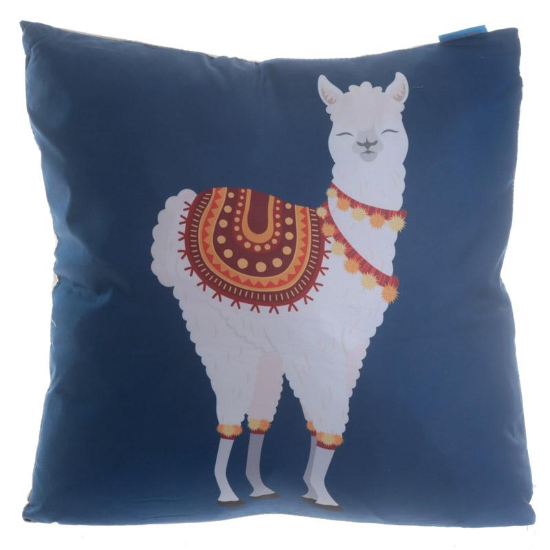 Almofada Alpaca com fundo azul