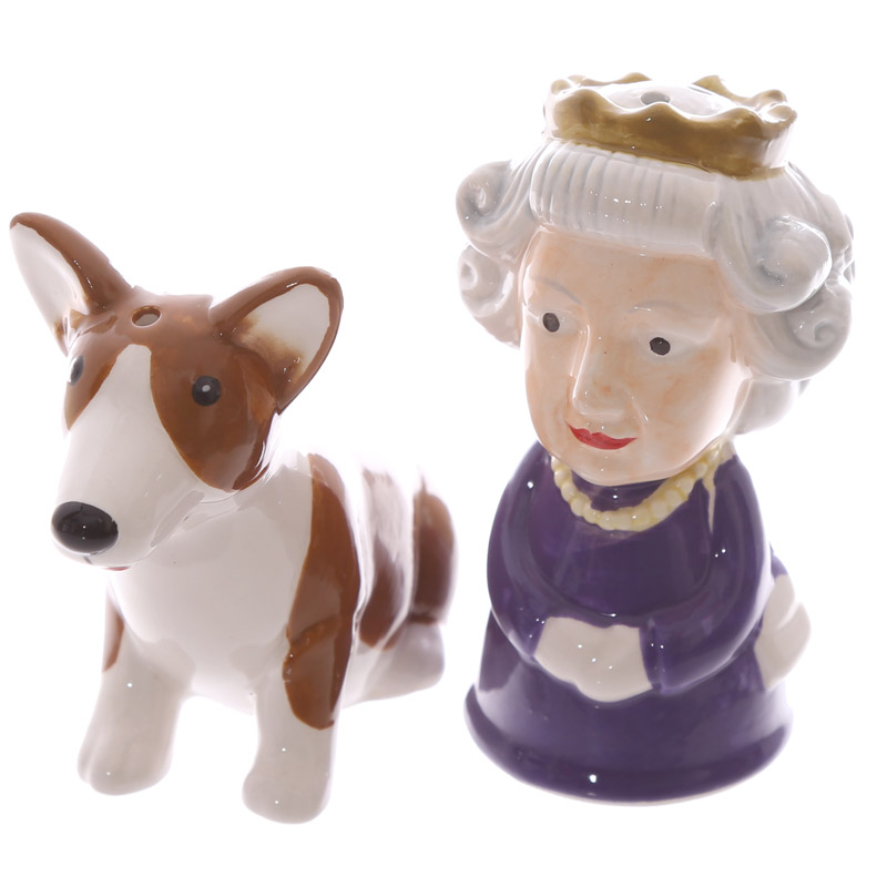 Conjunto de Sal e Pimenta Rainha e cão Corgi