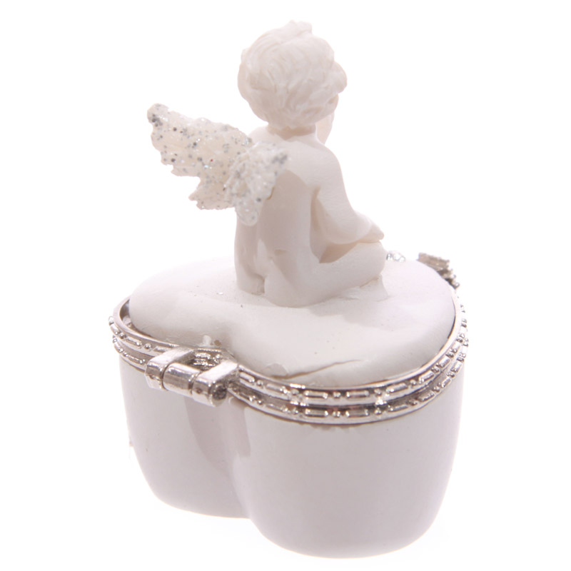 Guarda Pastilhas Anjo branco em forma de coração