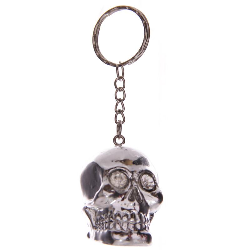 Porta-chaves de Caveira Prateada