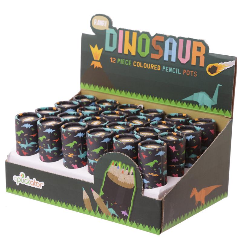 Tubo redondo com lápis de Cores - Dinossaurios