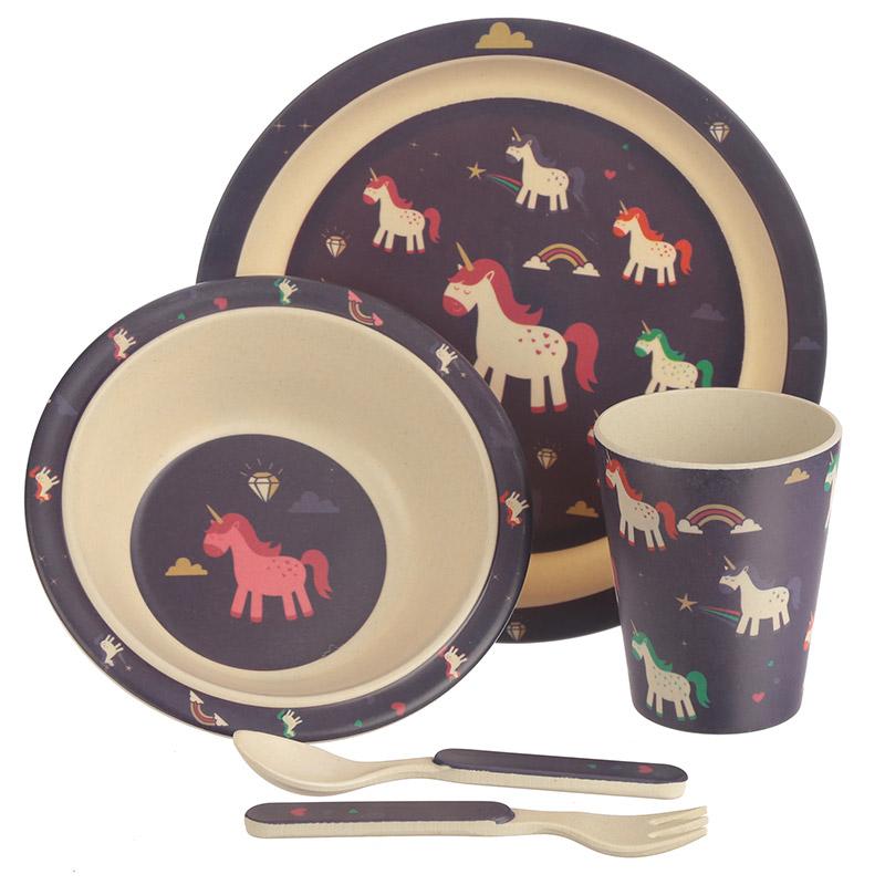 Conjunto para comer pratos copo e talheres de bambu - Unicórnio