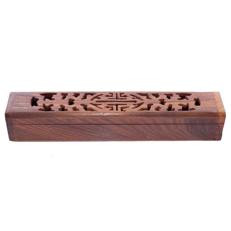 caixa para Incenso Talhada de Madeira Sheesham