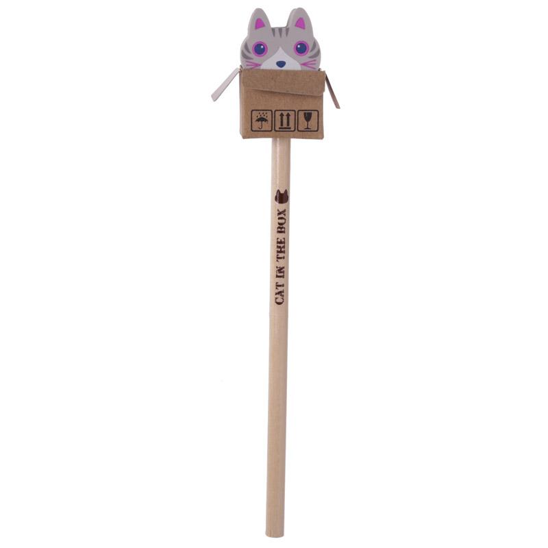 Lápis e borracha Caixa com Gato
