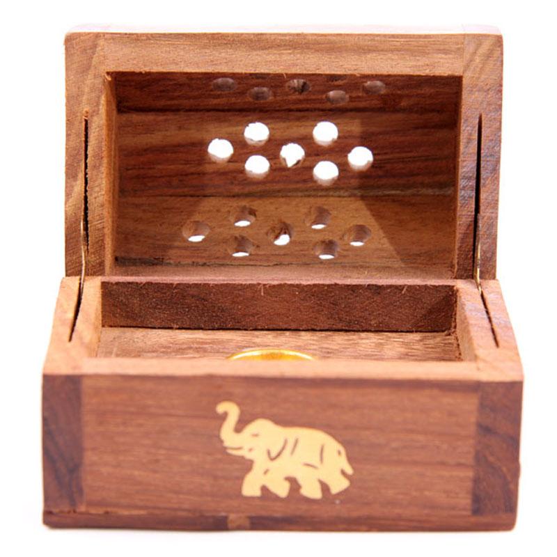 Mini Caixa Queimador de Cones Madeira Sheesham, Elefante