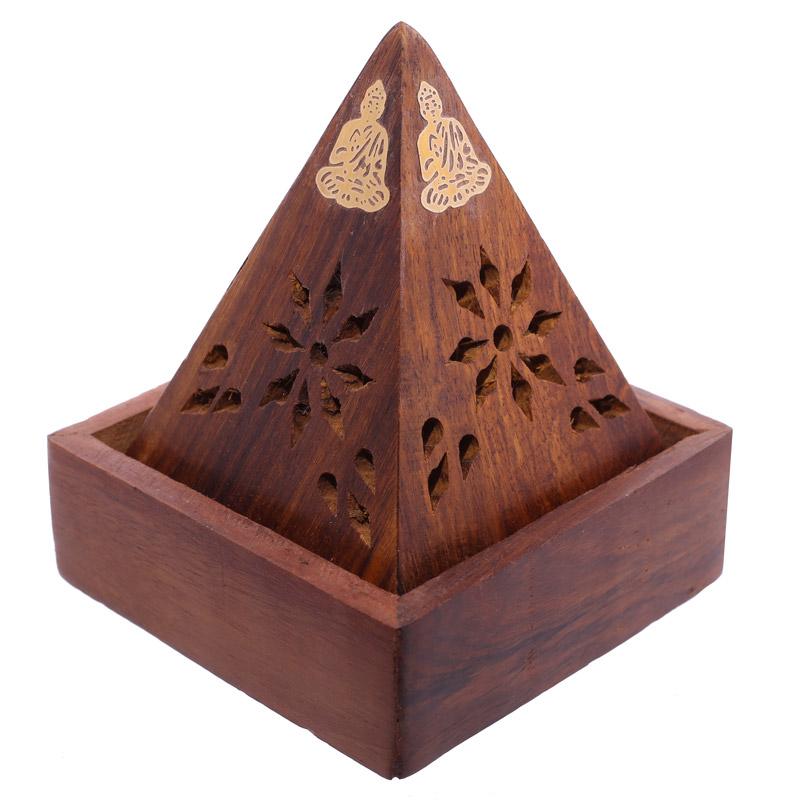 Pirâmide com Buda de Madeira Sheesham para Cones de Incenso