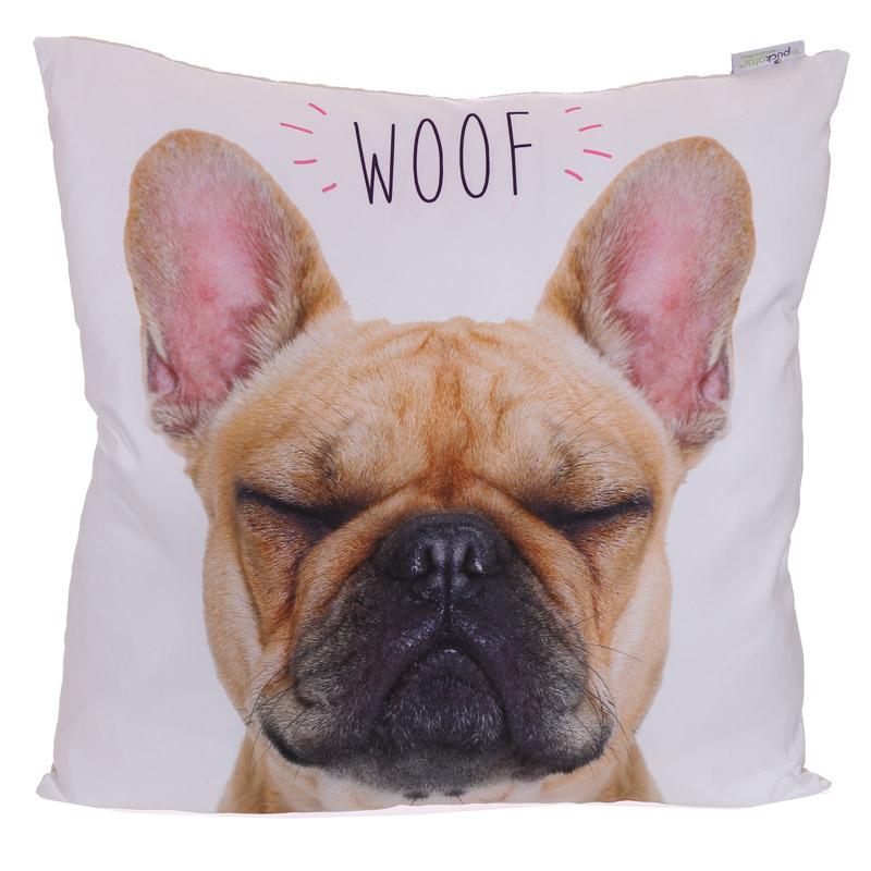 Almofada Bulldog Frances Woof - 50 x 50cm