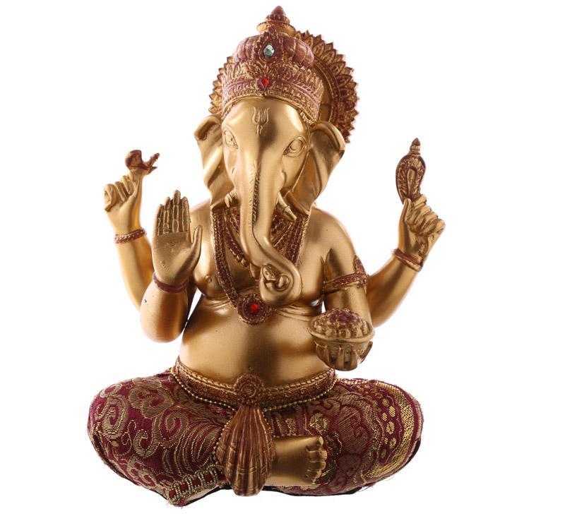 Ganesha vermelho e Dourado 19cm