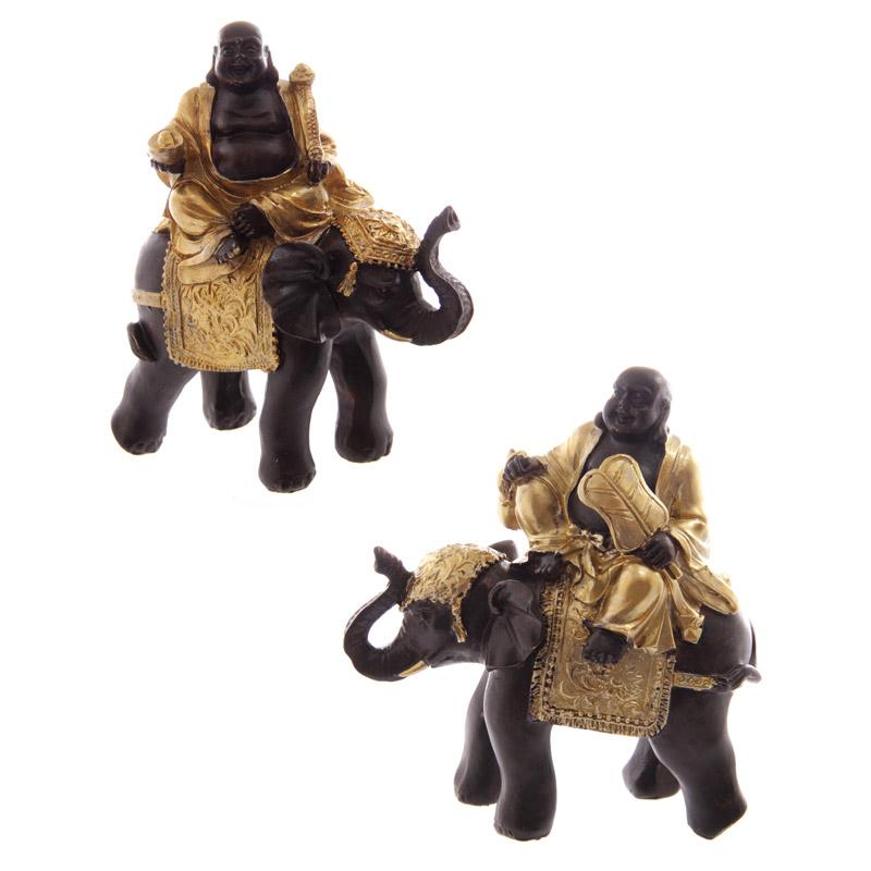 Buda gordo em elefante dourado & castanho a rir-se