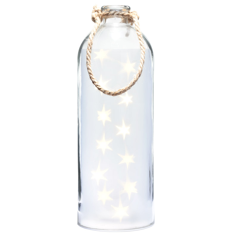 Jarro Decorativo grande com LED branco estrelas e cordel