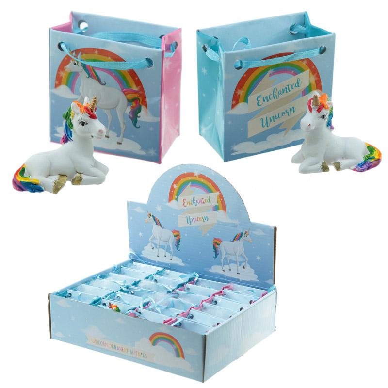 Unicórnio arco-iris em mini bolsa de presente