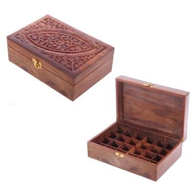 Caixa óleos Essenciais de Madeira Sheesham-Desenho1(24 Frascos)